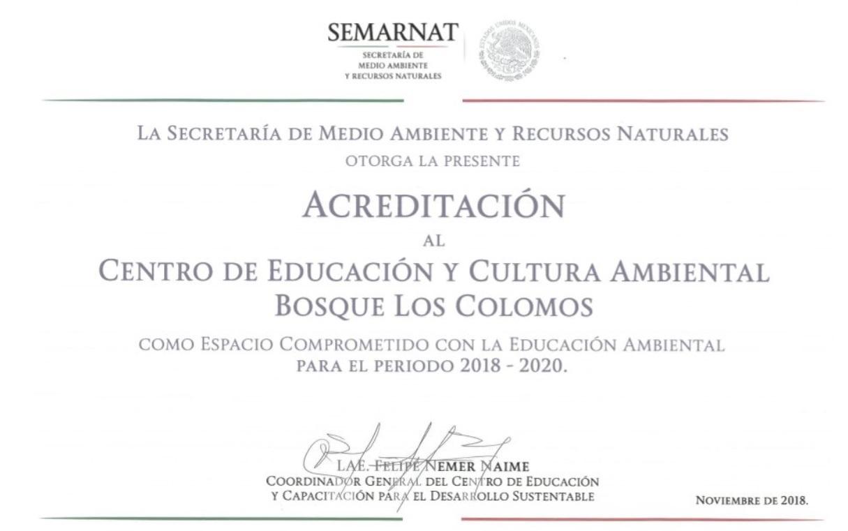 Reconocimiento al Centro de Educación y Cultura Ambiental